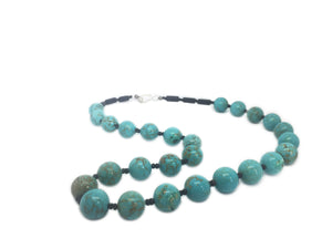 SLJ Blue Moon Necklace Handmade Natural Spiritual Travel Resort Boho Chic Collection Turquoise Stone Beaded