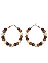 Load image into Gallery viewer, SLJ Cocoa Hoop Earrings Beaded Fashion Handmade Natural Spiritual Travel Resort Boho Chic Collection