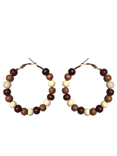 SLJ Cocoa Hoop Earrings Beaded Fashion Handmade Natural Spiritual Travel Resort Boho Chic Collection