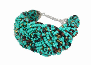 Turquoise Threaded Cuff - Sasha L JEWELS LLC