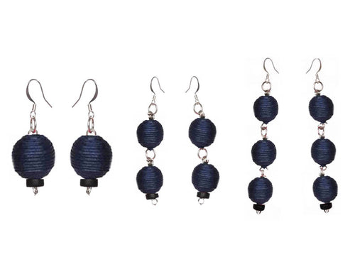 Pom Boho Chic Earrings (Navy Blue)
