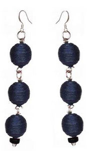 Pom Boho Chic Earrings (Navy Blue) - Sasha L JEWELS LLC