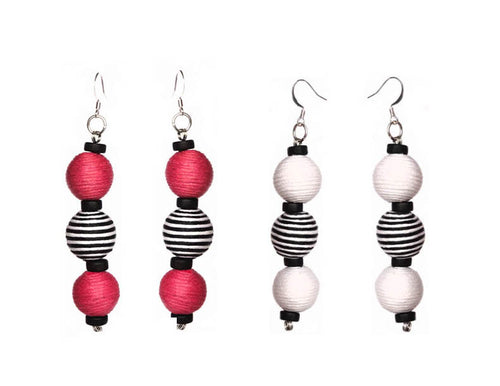 Pom Boho Chic Earrings (Stripe Variations) - Sasha L JEWELS LLC