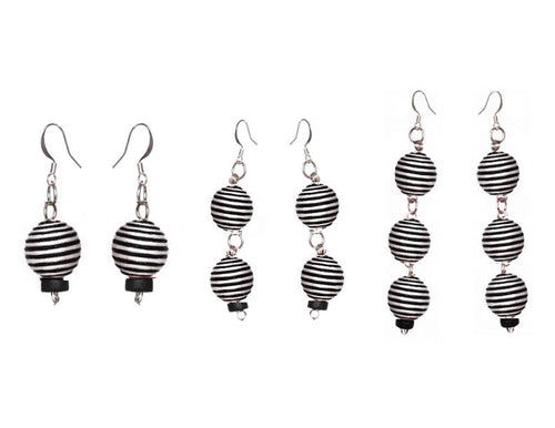 Pom Boho Chic Earrings (Stripes) - Sasha L JEWELS LLC