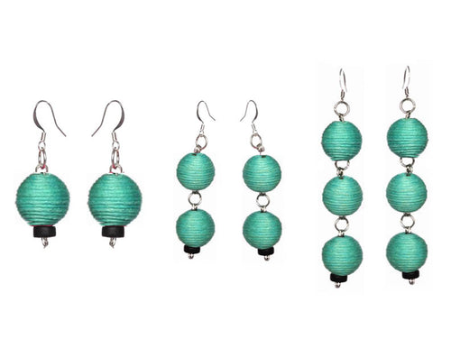 Pom Boho Chic Earrings (Teal Green) - Sasha L JEWELS LLC