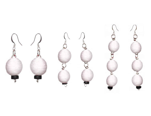 Pom Boho Chic Earrings (White)