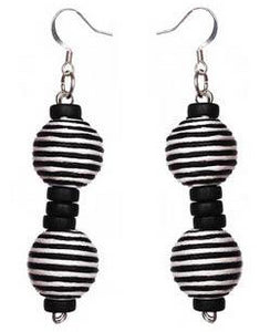Pom Boho Chic Earrings (Zebra Stripe)