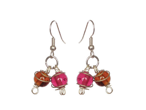 Dancing Spiral Glass Stunner Earrings- Double - Sasha L JEWELS LLC