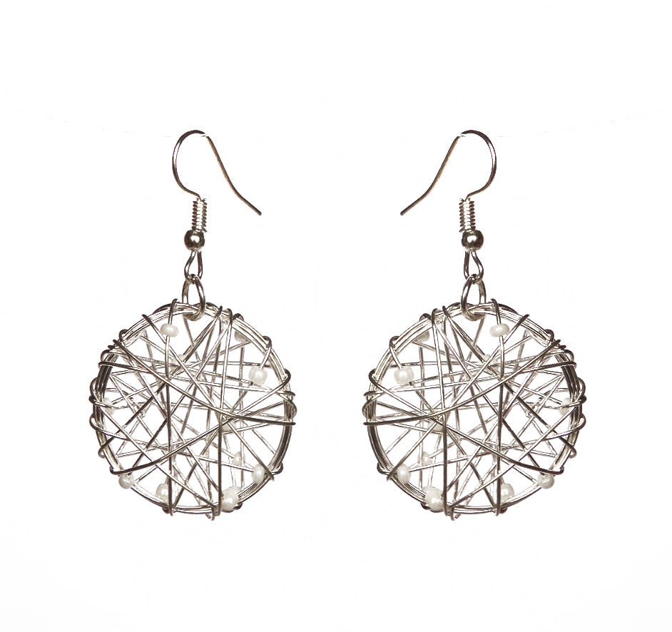 SLJ Embellished Wire Design Earrings- Single Handmade Urban Street Unique Fashion Pop Jewelry Travel Urban Retro Chic Collection