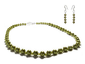 SLJ Envy Glass Pearl Jewelry Set Necklace Earrings Green Pearl Handmade Evening Unique Fashion Jewelry Travel Jewelry Clearance Sale