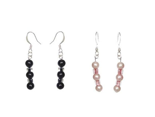 SLJ Glass Pearl Earrings Handmade Evening Unique Fashion Jewelry Travel Jewelry Clearance Sale Bridal Gift Graduation Fun Black Pink Green Blue Colors