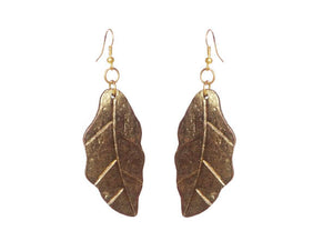 SLJ Gold Leaves Divine Earrings Handmade Evening Unique Fashion Jewelry Travel Jewelry Clearance Sale Bridal Gift Graduation Earth Leaf Goddess Spiritual