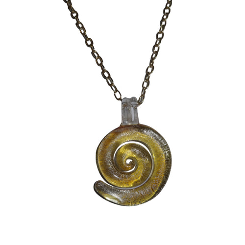 Glass Sea Shell Pendant Necklace