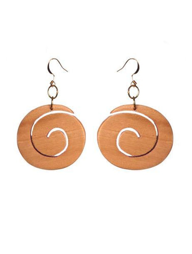 SLJ Hypnosis Wood Swirl Earrings Fashion Handmade Natural Spiritual Travel Resort Boho Chic Collection