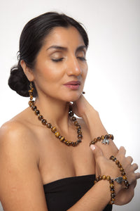 Tiger's Eye Double Leaf Bangles - Sasha L JEWELS LLC