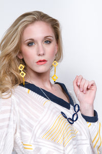 SLJ Triangle Illusion Earrings Yellow Shells Handmade Urban Street Unique Fashion Pop Jewelry Travel Jewelry Urban Chic Retro Collection Andrea Cadigan