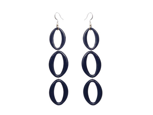 SLJ Indigo Earrings - Triple Blue Oval Handmade Evening Unique Fashion Jewelry Travel Jewelry Clearance Sale Bridal Gift Graduation