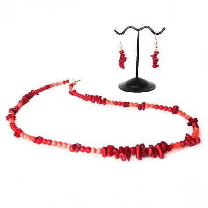 SLJ Infused Fire Coral Jewelry Set Necklace and Earrings Stone Chips Island Classic Handmade Natural Spiritual Travel Resort Boho Chic Collection
