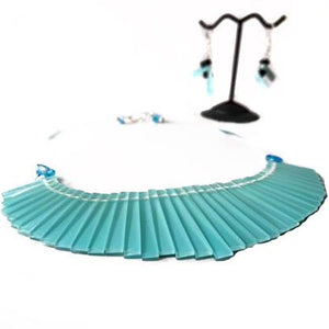 Iridescent Blue Fan Choker Set - Sasha L JEWELS LLC