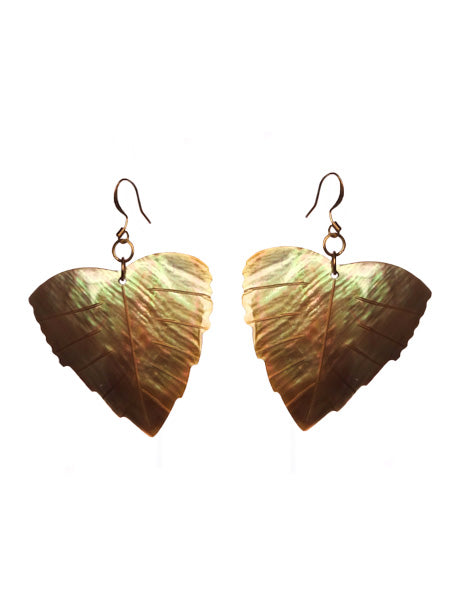 SLJ Iridescent Leaf Earrings Shell Island Classic Handmade Natural Spiritual Travel Resort Boho Chic Collection