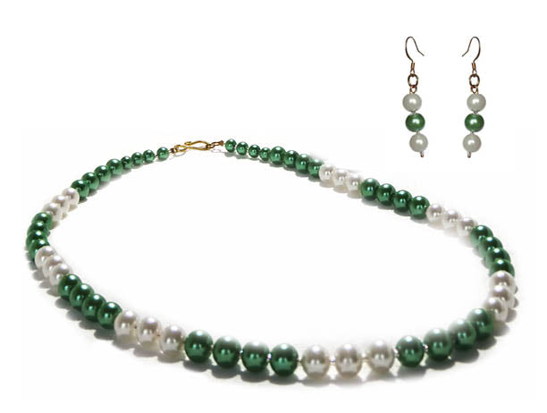 SLJ Irish Cream Pearl Jewelry Set Necklace Earrings Green White Pearl Handmade Evening Unique Fashion Jewelry Travel Jewelry Clearance Sale Bridal St. Patrick's Day Ireland