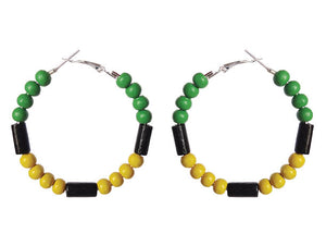 SLJ Jamaica Jamaican Earring Hoops Jewelry Celebrate Caribbean Fashion Culture Festival Heritage Pride Collection Carnival Accessories West Indies