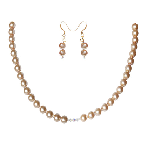 Champagne Crystal Pearl Set - Sasha L JEWELS LLC