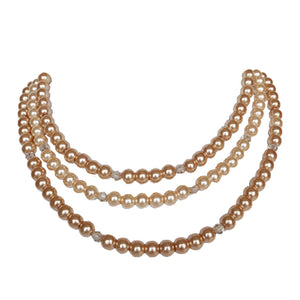 Champagne Crystal Pearl Triple - Sasha L JEWELS LLC