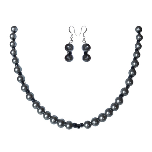 Platinum Glass Pearl Set - Sasha L JEWELS LLC