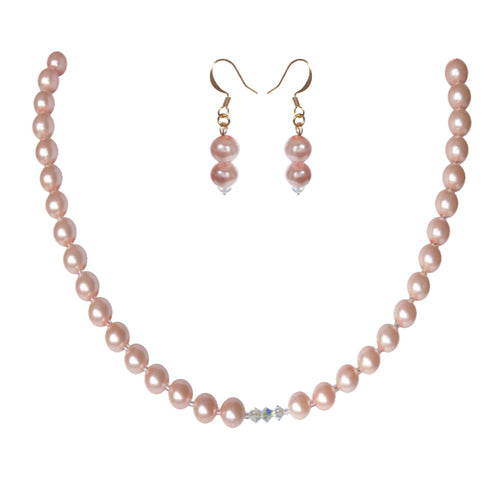 Soft Pink Crystal Pearl Set - Sasha L JEWELS LLC