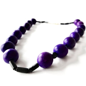 SLJ Purple Lush Wooden Beads Bohemian Island Classic Handmade Natural Spiritual Travel Resort Boho Chic Collection