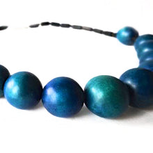 Load image into Gallery viewer, SLJ Resort Chic Necklace Blue Wooden Beads Bohemian Island Classic Handmade Natural Spiritual Travel Resort Boho Chic Collection
