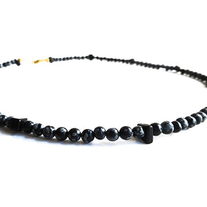 SLJ Snowflake Obsidian Necklace Natural Stone Nature Spiritual Jewelry Boho Chic Collection Unisex Fashion