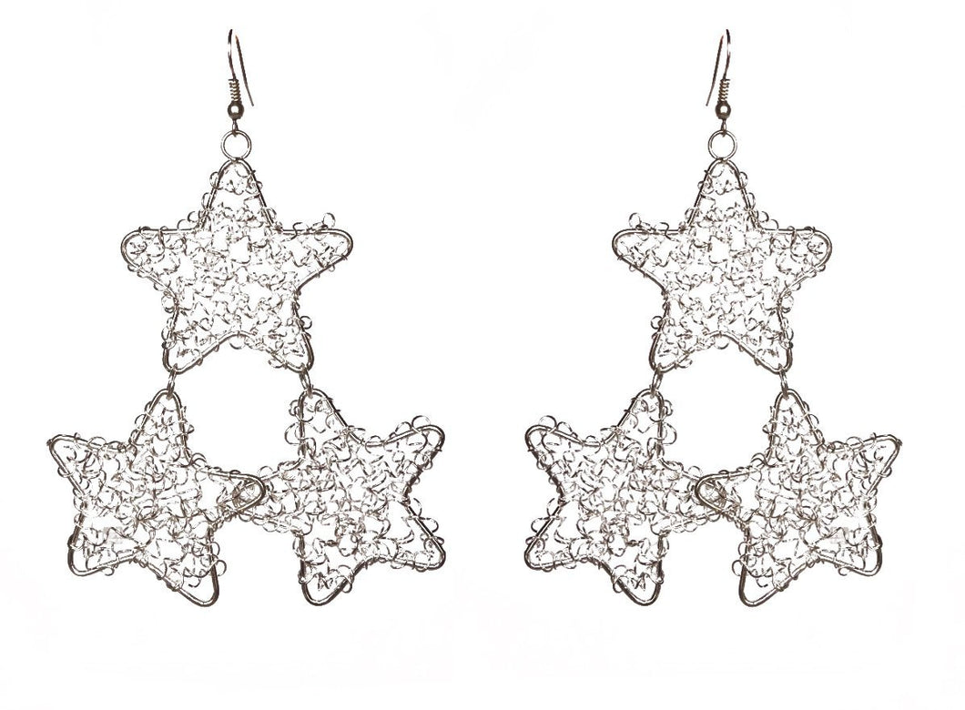 SLJ Star Wire Design Earrings- Constellation 3 Stars Per Ear Handmade Urban Street Unique Fashion Pop Jewelry Travel Urban Retro Chic Collection Silver