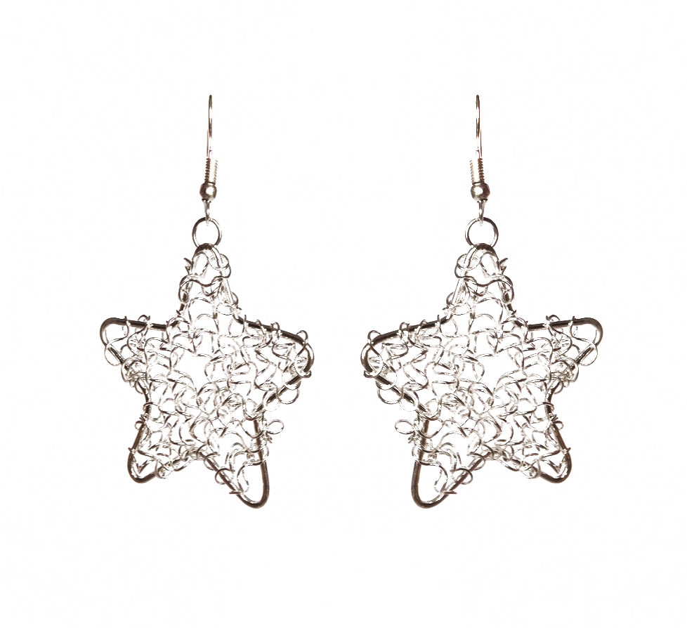 SLJ Star Wire Design Earrings- Single Handmade Urban Street Unique Fashion Pop Jewelry Travel Urban Retro Chic Collection Silver