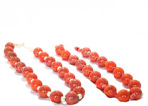 SLJ Marmalade Pop Necklace Orange Island Classic Handmade Natural Spiritual Travel Resort Boho Chic Collection Glass Beads