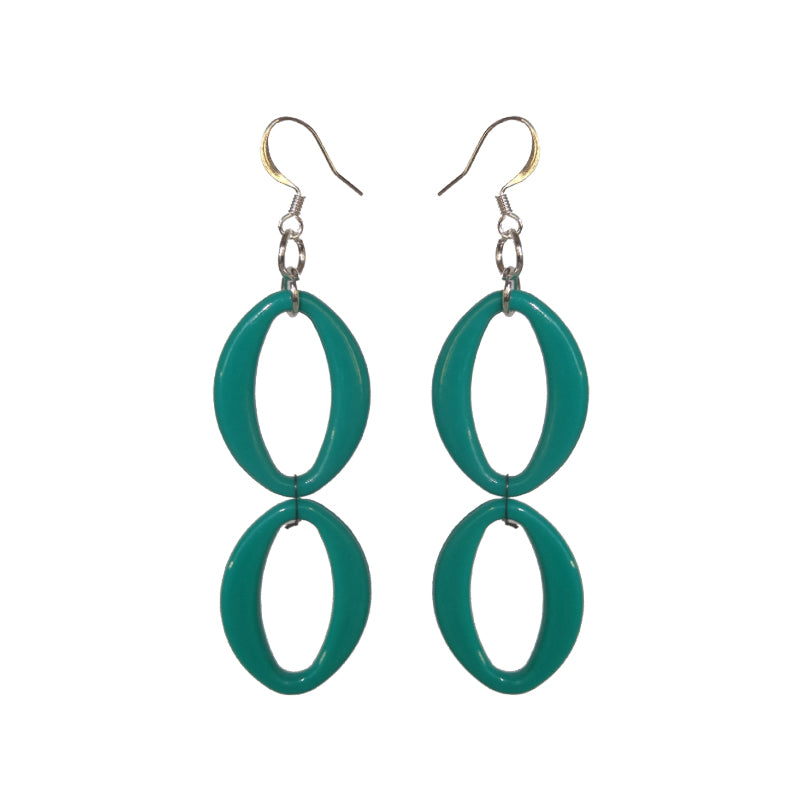 Teal Earrings - Double - Sasha L JEWELS LLC