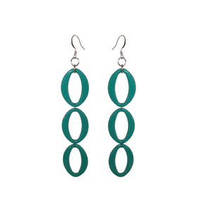 Teal Earrings - Triple - Sasha L JEWELS LLC