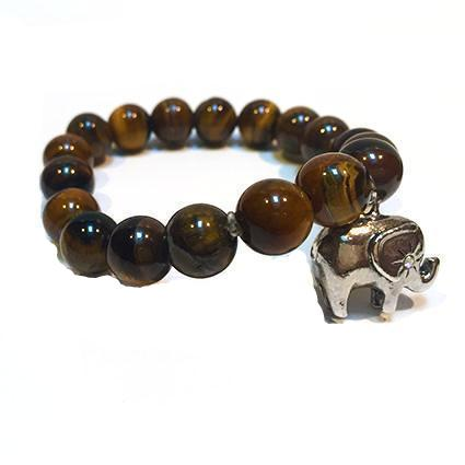 Tiger's Eye Elephant Charm Bangle - Sasha L JEWELS LLC