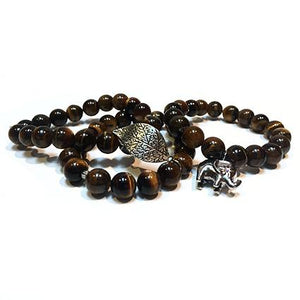 SLJ Tiger's Eye Bangle Bracelet with elephant charm Stone Beaded Handmade Natural Spiritual Travel Resort Boho Chic Collection Earth Accessories