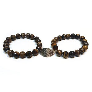 SLJ Tiger's Eye Double Leaf Bangle Bracelet with leaf charm Stone Beaded Handmade Natural Spiritual Travel Resort Boho Chic Collection Earth Accessories