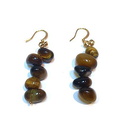 SLJ Tiger's Eye Earrings Stone Beaded Handmade Natural Spiritual Travel Resort Boho Chic Collection Earth Accessories