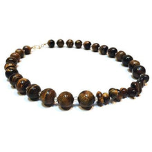 Load image into Gallery viewer, SLJ Tiger's Eye Choker Necklace Stone Beaded Handmade Natural Spiritual Travel Resort Boho Chic Collection Earth Accessories