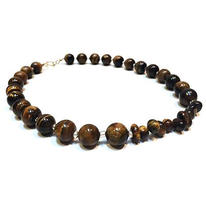SLJ Tiger's Eye Choker Necklace Stone Beaded Handmade Natural Spiritual Travel Resort Boho Chic Collection Earth Accessories