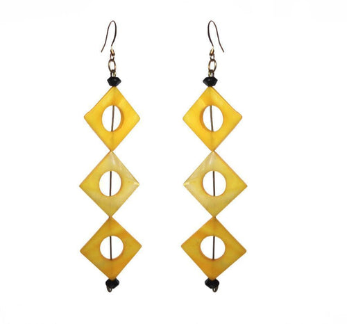 SLJ Triangle Illusion Earrings Yellow Shells Handmade Urban Street Unique Fashion Pop Jewelry Travel Jewelry Urban Chic Retro Collection