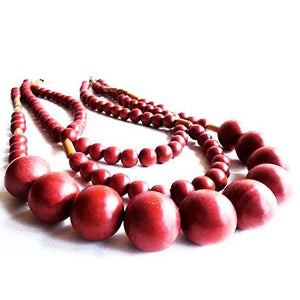 SLJ Triple Desert Blush Necklace Wooden Beads Bohemian Island Classic Handmade Natural Spiritual Travel Resort Boho Chic Collection Stack Jewelry