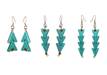 Load image into Gallery viewer, SLJ Turquoise Warrior Earrings- Double Stone Beaded Handmade Natural Spiritual Travel Resort Boho Chic Collection Earth Accessories