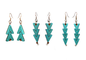 Turquoise Warrior Earrings - Double - Sasha L JEWELS LLC