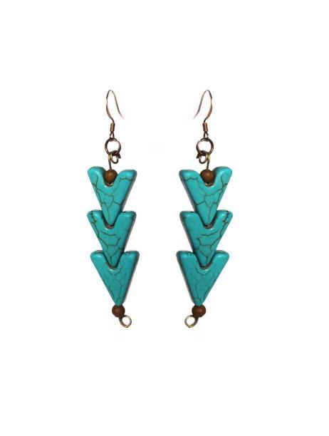 Turquoise Warrior Earrings - Triple - Sasha L JEWELS LLC