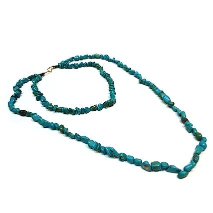 SLJ Turquoise Chip Necklace Stone Beaded Handmade Natural Spiritual Travel Resort Boho Chic Collection